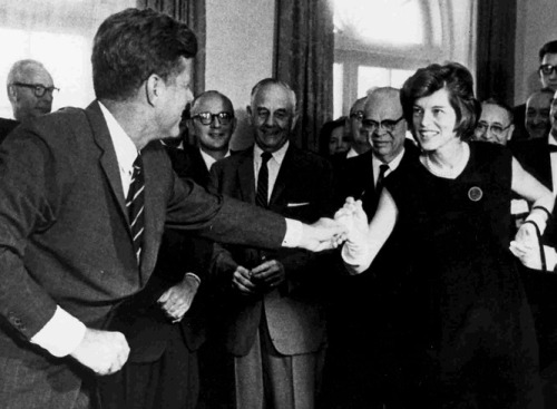 "This week in history, the Americans with Disabilities Act was signed.  Yesterday, we asked which President established the first major legislation to provide programs for intellectual disabilities.   The answer is John F. Kennedy, with strong support from his sister Eunice Kennedy Shriver. The Kennedy family had a personal connection to the issue.  The president's sister Rosemary, 16 months his junior, was born with intellectual disabilities. TODAY'S QUESTION: Which President addressed Congress with these words: ""Disabled Americans must become full partners in America's opportunity society?"" Need a hint?  Look here. jfklibrary:  Pictured: John F. Kennedy hands Eunice Kennedy Shriver the signing pen after signing the Maternal and Child Health and Mental Retardation Planning Amendments of 1963."