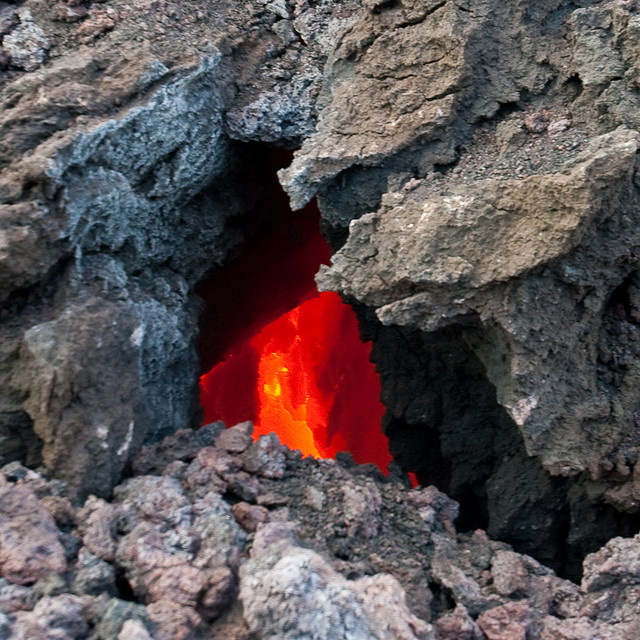 A window into the molten lava by olikristinn  Iceland