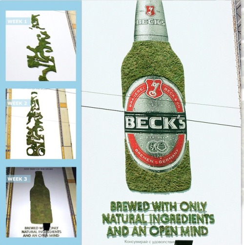 motivatorspp:  Beck's Brews its Brand with Eco-Friendly Promo  What makes a great beer?  The folks at Beck's believe that beer should be created with real ingredients by people with open minds.  To spread this message and to set the Beck's brand apart from competitors, the beer company built Europe's largest moss graffiti over a four-week period.  Each week, Beck's added a new brand element — including young, free, and open-minded — to the eco-friendly promotional product.