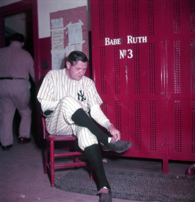 life:  July 11, 1914: Babe Ruth makes his Major League Baseball debut. We present rare pictures by Ralph Morse from Babe Ruth Day, as well as from the Babe's last public appearance a year later, in June 1948, mere months before he died. Pictured: Babe Ruth in the locker room at Yankee Stadium, June 13, 1948, the day his number 3 was retired. See the photos here on LIFE.com.