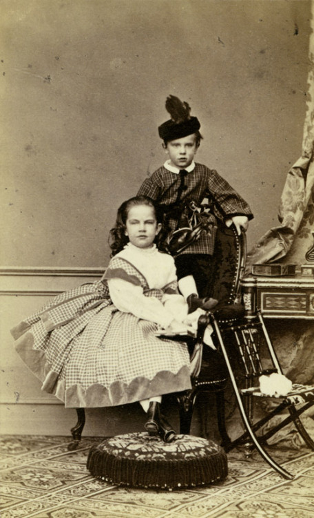 tiny-librarian:  Photograph of Crown Prince Rudolf and Archduchess Gisela, the two eldest surviving children of Franz Joseph and Sisi.