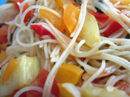 Cooked Organic Veggies added to Organic Angelhair Pasta