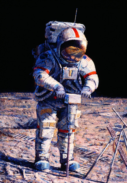 moonzerotwo:  Drilling for Knowledge - Alan Bean   Again. Alan Bean is the most awesome American spaceman. That is all.