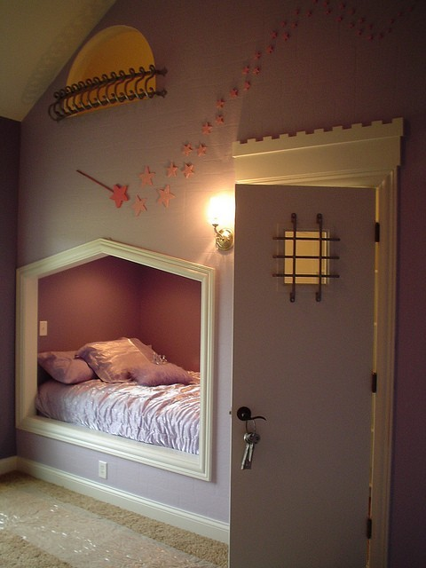 "wow! i'd so want this ;D hehe  As if the bed nook wasn't cool enough, that door leads to the closet, which holds a ladder to a reading space, with the ""balcony"" window above the bed to look out!"
