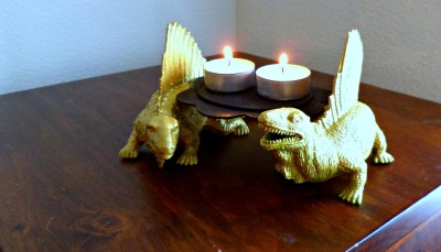 crapatcrafts:  Dinosaur candle holder