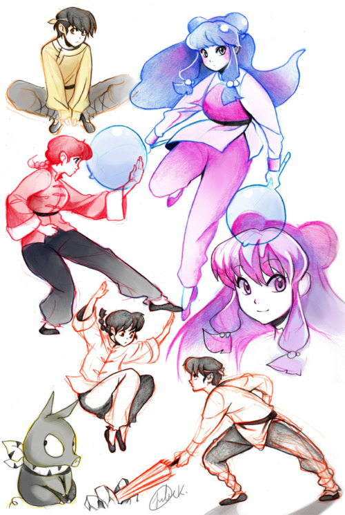 miyuli:  Some more nostalgia feelings in form of sketches!I looove Ranma 1/2! My fav characters were Ranma girl, Shampoo and Ryouga <3I liked the style they used in the beginning. Thinking about getting the DVDs sometime (as long as they're still available)
