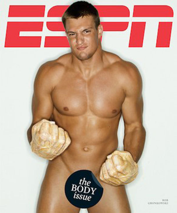 "Rob Gronkowski makes cover of ESPN's 'body issue'  Call it The Full Gronkowski. The extremely scantily-clad Patriots tight end, wearing only Hulk hands and a grimace, made the cover of ESPN The Magazine's ""body issue"" that will hit newsstands on Friday. (ESPN)"
