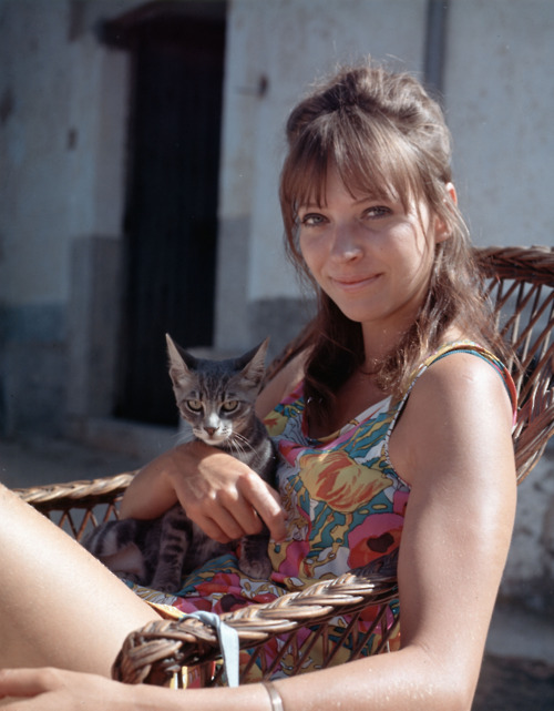 theswinginsixties:  Anna Karina on the set of 'The Magus', 1968.
