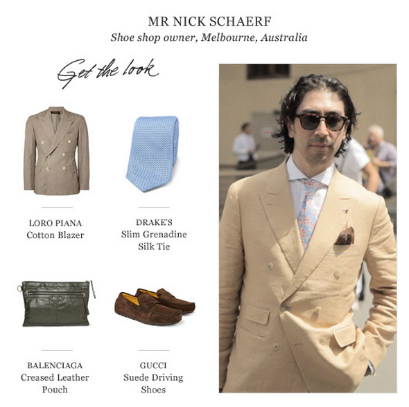 Nick Schaerf of Melbourne was featured on Mr.Porter, looking bad-ass in bespoke Linen, Floral and Belgian shoes along the big boys.