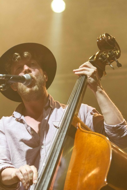 Ted Dwane of Mumford & Sons performs at Harvest of Art Festival in Wiesen, Austria on 6th July 2012. Photo copyright Patrick Muennich.