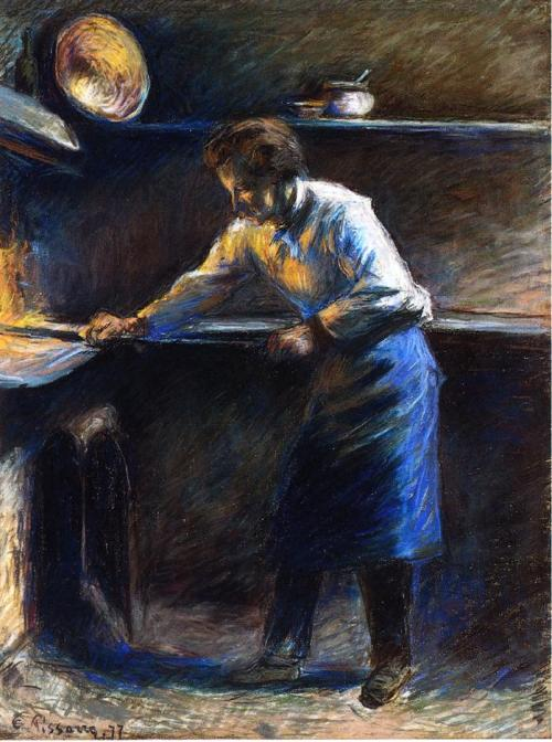 chasingtailfeathers:   Camille Pissarro Eugene Murer at His Pastry Oven, 1877. Pastel, private collection. I'm fascinated by this piece. Just in the use of colour and the high contrast alone, it's so different from what he was doing at that time.This pastel is a brilliant example of Pissarro's immense talent, his vivid creativity, and his constant search for diverse ways of expression.    ✌