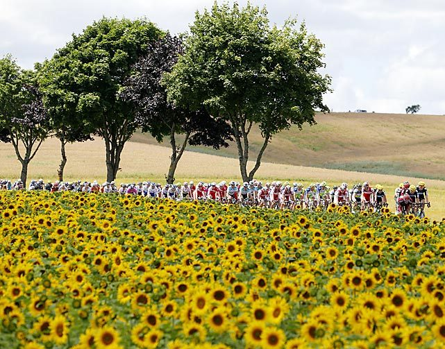 The pack of Tour de France cyclists pass by a field of sunflowers during the 123-mile seventh stage, starting in Tomblaine and finishing in La Planche des Belles Filles. Englishman Christopher Froome won the stage with a time of 4:58:35. (Joel Saget/AFP/Getty Images) GALLERY: Leading Off - Pictures of the Week