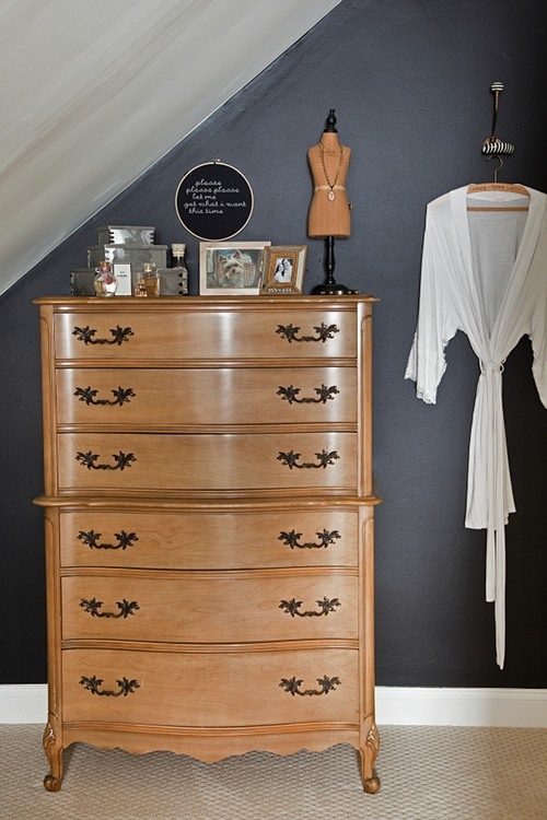 perfect fit for a bedroom! stylish-interior-design:  Our closet evolved from a long, narrow room under the eaves, and we feel so lucky to have a walk-in, given the era of our home! We just painted that wall with chalkboard paint and haven't even christened it yet! The embroidery hoop quotes a Smiths song and is by local Philly artist Chez Sucre Chez. The striped hook is from Anthropologie.