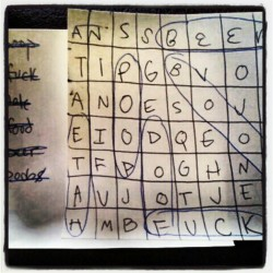 Jo made a crossword for me. #sosweet #NOT (Taken with Instagram)