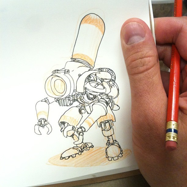 mrjakeparker:  Sketchin' a robot. (Taken with Instagram)