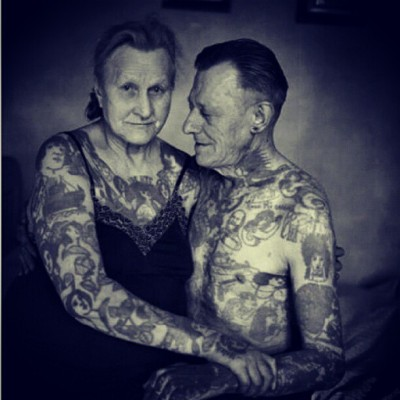trubblebox:  Omg. So adorable! #adorable #tattooed #oldfolks #love #bodymods #cute #whenigrowup #YOLO #ftp (Taken with Instagram)