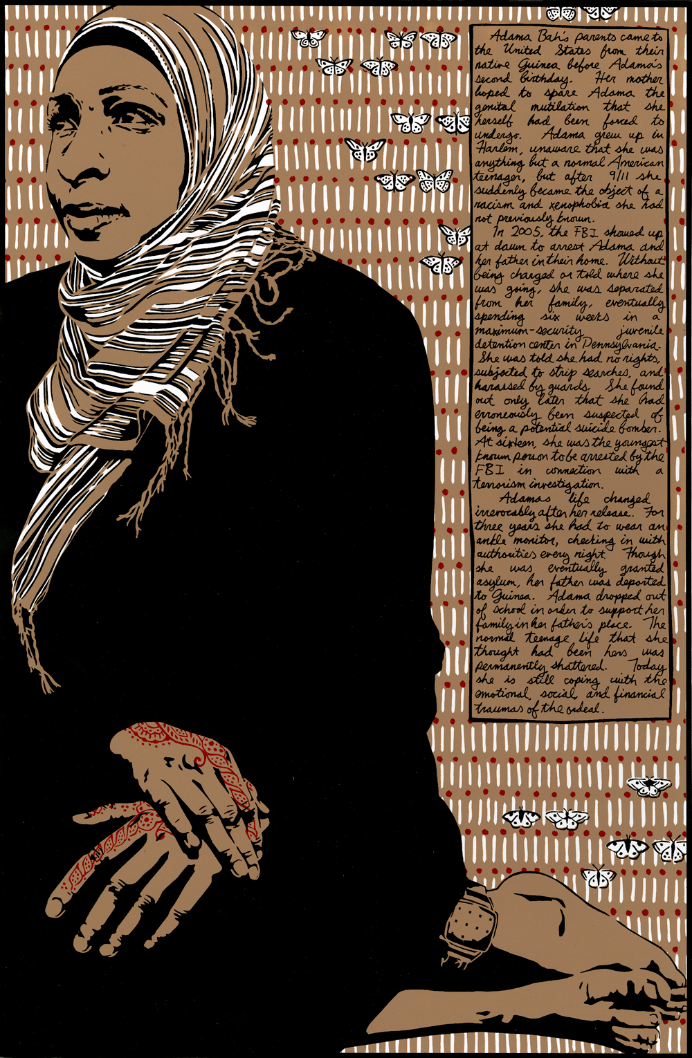 Wood block print of older Muslim woman