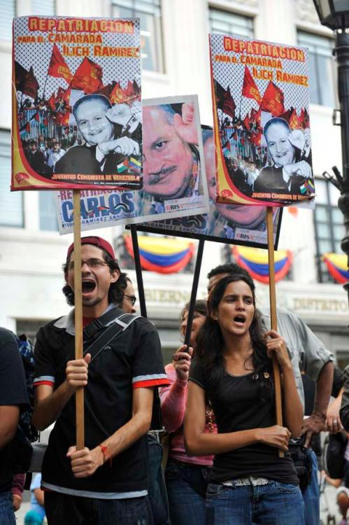"Caracas, Venezuela: Supporters of the Communist Youth (JCV) demand repatriation for Ilich Ramirez (""Carlos the Jackal""), a pro-Palestinian guerrilla from Venezuela currently held as political prisoner in France."