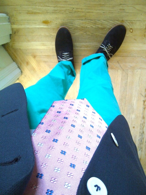 This picture doesn't really capture the green of the pants…