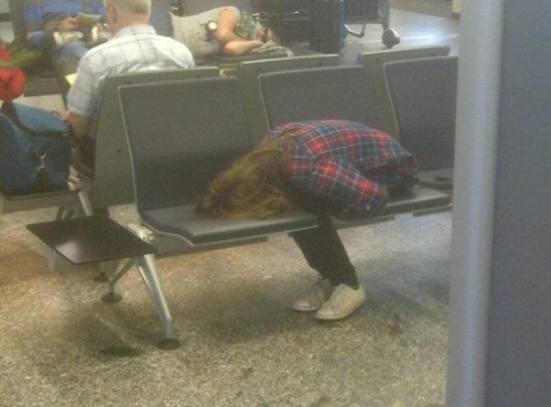 collegehumor:  Girl Sleeping Strangely in Airport Come, rest your face where a thousand butts have been.