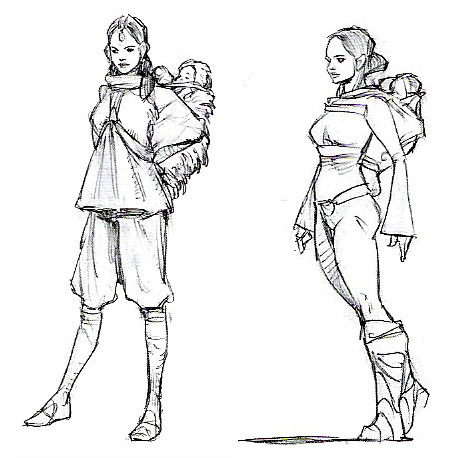 forgottenbennet:  concept art of Padme and the twins  Mama!Padmé, though she didn't survive the concept art.