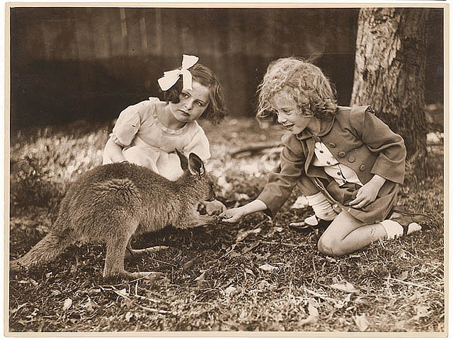 Kangaroo & girls, ca. 1925-ca. 1945 / by Sam Hood by State Library of New South Wales collection on Flickr.