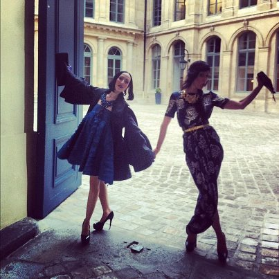 So much joy right after & outside GIVENCHY haute couture in Paris with @sarahsophieflicker