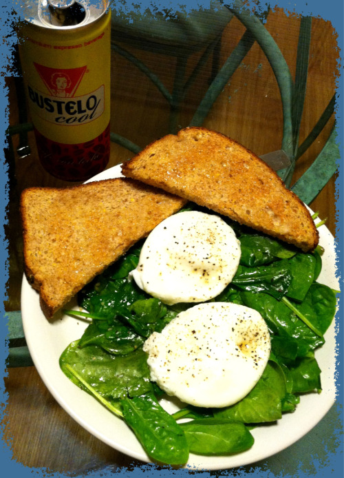 "Poached eggs over wilted garlic spinach and whole grain toast:  Eggs: bring about 2-3"" water to simmer for a regular sauté pan, about 1"" for a nonstick pan (little bubbles rise but not boiling, this is key). Crack one egg in a small bowl. Swirl the water in a circular motion around the pan to get a little whirlpool going, then gently, touching the surface of the water, pour in the egg. Continue to swirl the water a bit, you will get what's called a ""ghosting effect"". If the egg sticks a bit to the pan, gently loosen it but continue swirling the water (not the egg itself) to keep it moving. This helps the egg keep it's shape. Repeat with another egg. Simmer about 4-5 min, gently use a slotted spoon to flip the eggs over and cook 1-2 min. You can add a small spoonful of lemon juice or vinegar to the water beforehand to help the eggs keep shape as well, but it's not necessary.  Spinach: melt 1 tsp butter over medium heat in a sauté pan. Add 1/2 to 1 tsp minced garlic, cook until fragrant. Add spinach, stir until wilted throughout. Plate. Top with poached eggs, salt, and cracked black pepper to taste. Add some toasted whole grain bread if you like. :)  Enjoy!"