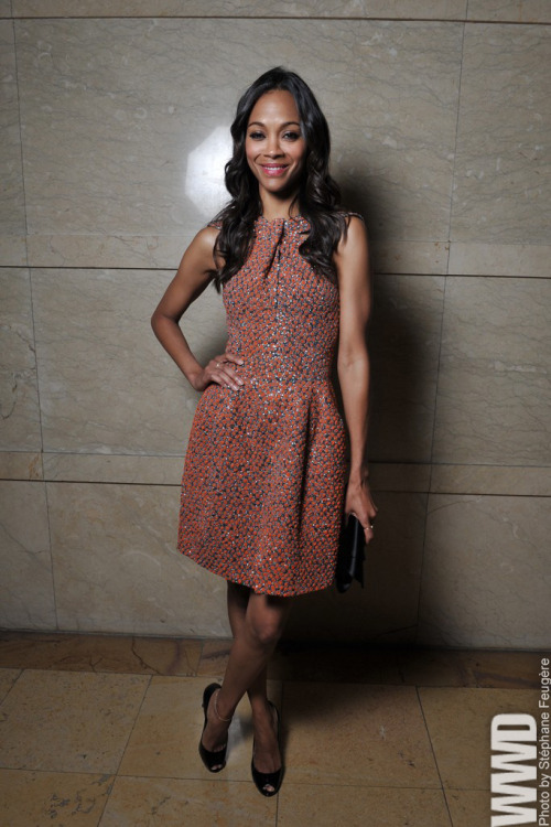 womensweardaily:  Zoe Saldana Front Row at Armani Privé
