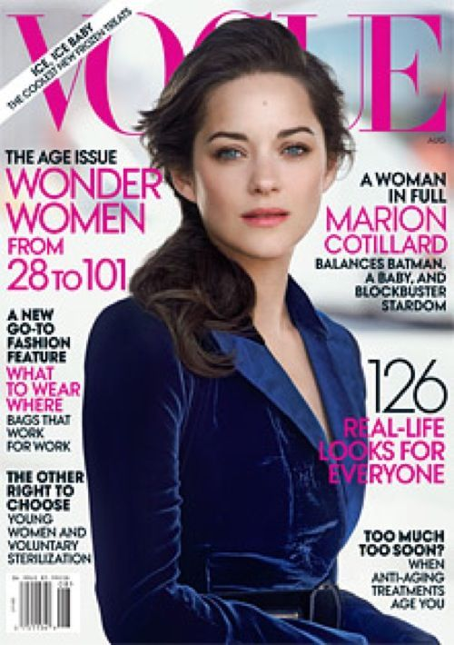 lushluxeandlovely:  Marion Cotillard covers the August 2012 issue of Vogue.