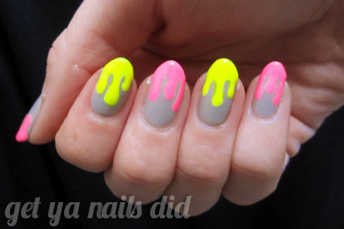 nude + neon + drips at get ya nails did China Glaze Shocking PinkAmerican Apparel Neon YellowOPI Did You 'Ear About Van Gogh?