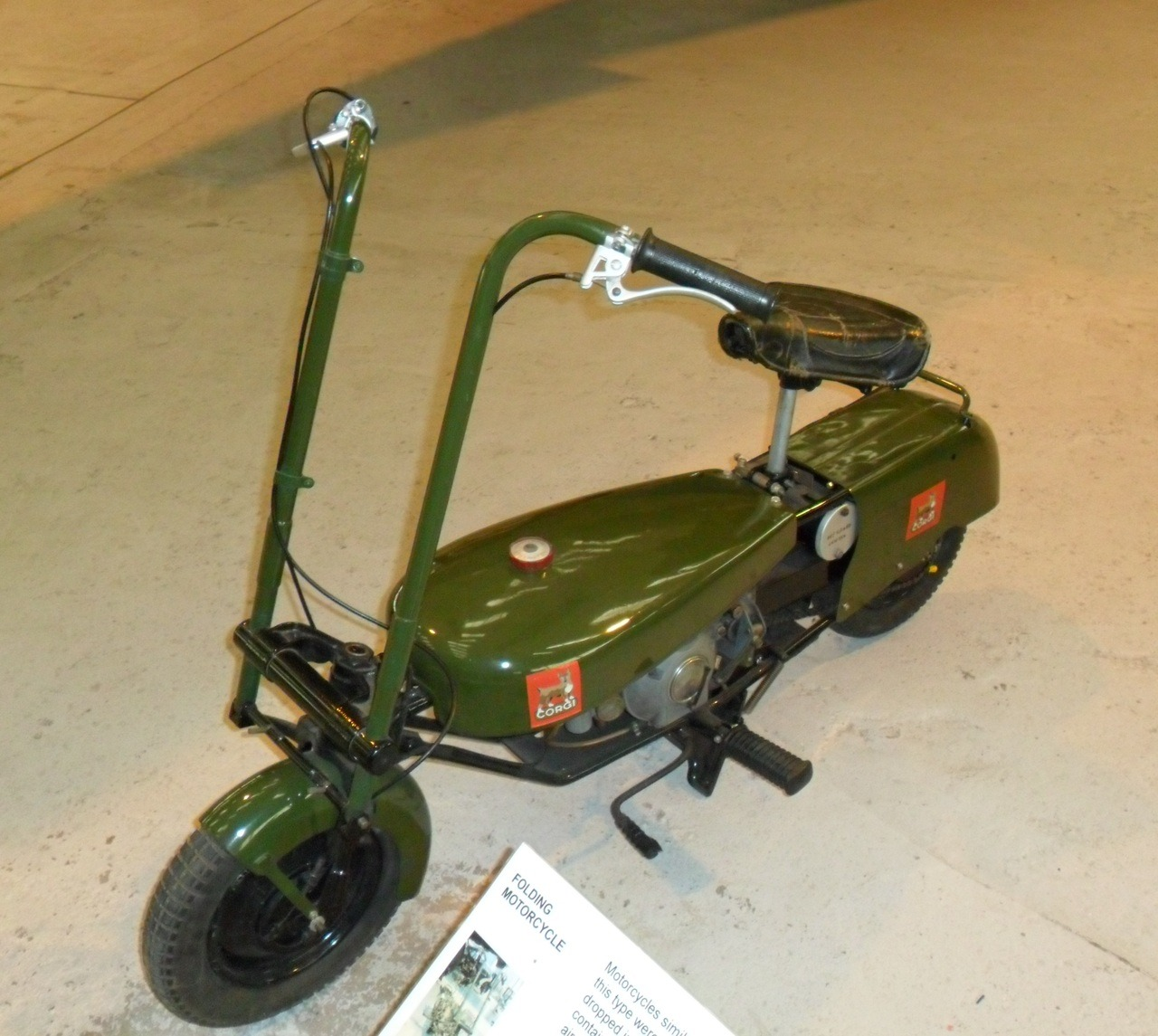 Mini Motorbike from WW2 !  Folding Paratroop motorbike - RAF Cosford Aerospace Museum