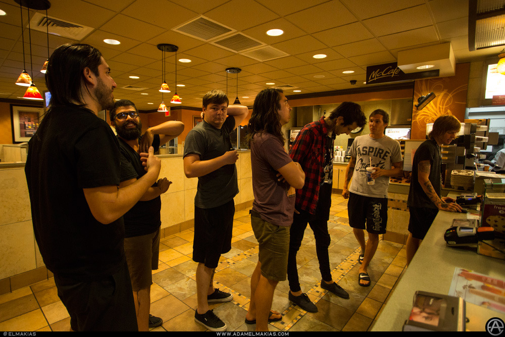 elmakias:  Late McDonald's stop with Of Mice & Men at Warped Tour in St. Louis, Missouri on July 5, 2012 Photograph by Adam Elmakias