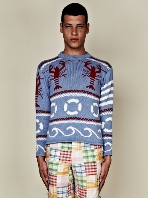Oh dear. On second thought, I don't hate that sweater. portlanddrygoods:  Another dose of Exaggerated Maine by Thom Browne, courtesy of the Oki-Ni Trunk Show