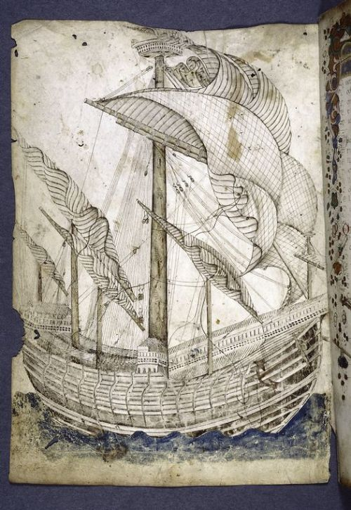 jothelibrarian:  Pretty medieval manuscript of the day is another ship. This line drawing is quite different to many of the other illustrations we've looked at. There's movement in the sails, and a sense of perspective which is lacking in many other manuscripts. I don't know the context of the drawing - whether it is an original piece of art, or an extreme example of marginalia. The facing page is painted and illuminated in an entirely different style. The book dates from the fifteenth century and is by Gregorio Dati.  Image source: New York Public Library, Spencer Collection MS MA 110. Image believed to be in the public domain.