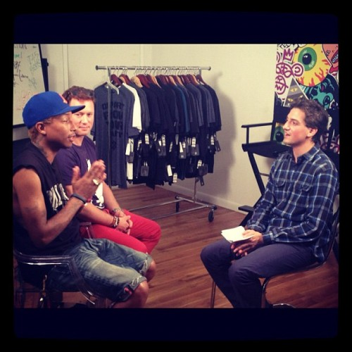 OUR TIME's co-founder Matthew Segal just interviewed Pharrell and KARMALOOP.com founder Greg Selkoe in support of www.onemillionnewjobs.org — Sign the petition! (Taken with Instagram)