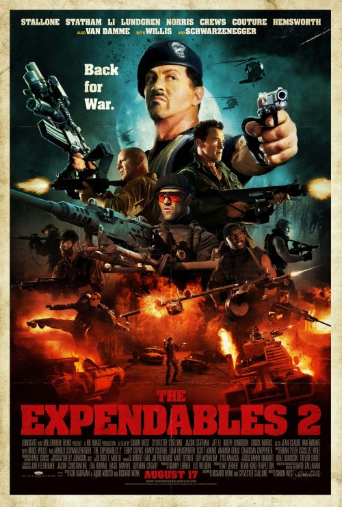 """The Expendables 2"" San Diego Comic-Con Poster A new '80s action movie themed poster of The Expendables 2 for SDCC has hit the web. Radiating an aura of masculinity, this poster has it all for the action star mash-up sequel. The poster itself is probably the best one to date thanks to its orange and blue contrast, while being a reminder of the genre's glory days in the '80s. The Expendables 2 bursts its way into theatres on August 17th, [Empire]"