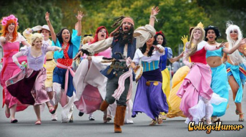 Disney Princesses Chase Jack Sparrow You're running the wrong way!