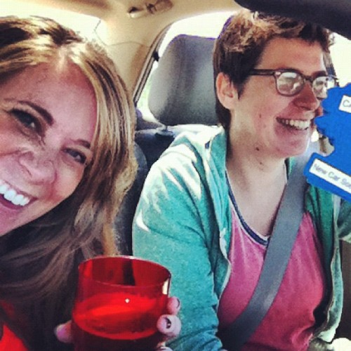 Driving to the coast means having a beer in the car. (Taken with Instagram at Columbia River Spit)