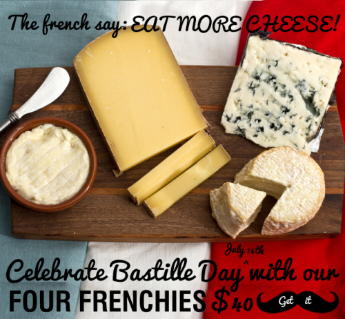 In France the average person eats 50 lbs of cheese per year. In the USA the average person eats 30 lbs of cheese per year. This Saturday = Bastille Day = CATCHUP TIME.