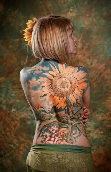 Sick Tat! Hippie Full Back Piece Artist piece by Dmitry Tim'yan, photo by TAM.