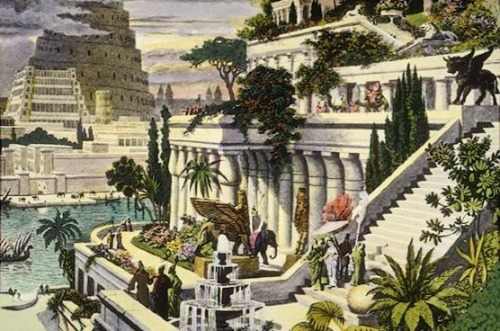 "7 Wonders of the Ancient World: The Hanging Gardens of Babylon The Hanging Gardens of Babylon are considered to be one of the Seven Wonders of the Ancient World. They were purportedly built in the ancient city-state of Babylon, near present-day Al Hillah, Babil province, in Iraq. The Hanging Gardens were not the only World Wonder in Babylon; the city walls and obelisk attributed to Queen Semiramis were also featured in ancient lists of Wonders (though not the list of 7 Ancient ones). The gardens were attributed to the Neo-Babylonian king Nebuchadnezzar II, who ruled between 605 and 562 BC. He is reported to have constructed the gardens to please his homesick wife, Amytis of Media, who longed for the plants of her homeland. The gardens were said to have been destroyed by several earthquakes after the 2nd century BC. Ancient Greek historians, Strabo and Philo, gave us these descriptions of the hanging gardens of Babylon: Strabo:  ""The Garden is quadrangular, and each side is four plethra long. It consists of arched vaults which are located on chequered cube-like foundations.. The ascent of the uppermost terrace-roofs is made by a stairway…""  Philo:  ""The Hanging Garden has plants cultivated above ground level, and the roots of the trees are embedded in an upper terrace rather than in the earth. The whole mass is supported on stone columns… Streams of water emerging from elevated sources flow down sloping channels… These waters irrigate the whole garden saturating the roots of plants and keeping the whole area moist. Hence the grass is permanently green and the leaves of trees grow firmly attached to supple branches… This is a work of art of royal luxury and its most striking feature is that the labor of cultivation is suspended above the heads of the spectators.""  However, no cuneiform texts describing the Hanging Gardens have ever been found.  Ancient writers describe the possible use of something similar to an Archimedes screw as a process of irrigating the terraced gardens. Estimates based on descriptions of the gardens in ancient sources say the Hanging Gardens would have required a minimum amount of 8,200 gallons (37,000 liters) of water per day. Nebuchadnezzar II is also reported to have used massive slabs of stone, a technique not otherwise attested in Babylon, to prevent the water from eroding the ground. There is some controversy as to whether the Hanging Gardens were an actual construction or a poetic creation, owing to the lack of documentation in contemporaneous Babylonian sources. There is also no mention of Nebuchadnezzar's wife Amyitis (or any other wives), although a political marriage to a Median or Persian would not have been unusual. Herodotus, writing about Babylon closest in time to Nebuchadnezzar II, does not mention the Hanging Gardens in his Histories. However, it is possible that cuneiform texts on the Hanging Gardens may yet be found."