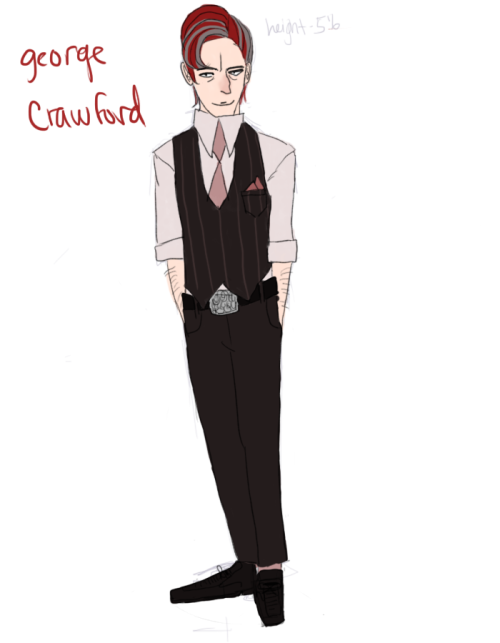george crawford. he's kind of the self assigned mayor of chesille (self assigned. he thinks he's mayor but he's really not.) he's really sly and he's a huge dick. he kind of patronizes cleina and her ideas to help other villages (not sure if i explained that…?) he's also pretty short. (probably the spark of his dick-ness)