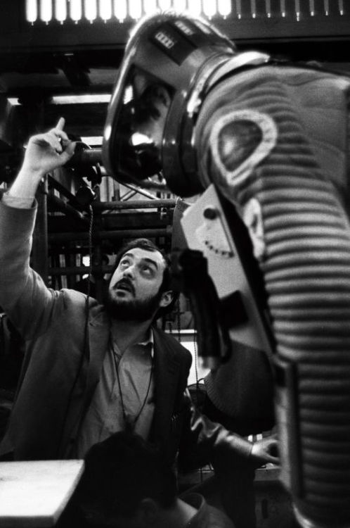STANLEY KUBRICK & KEIR DULLEA on the set of 2001: A SPACE ODYSSEY.