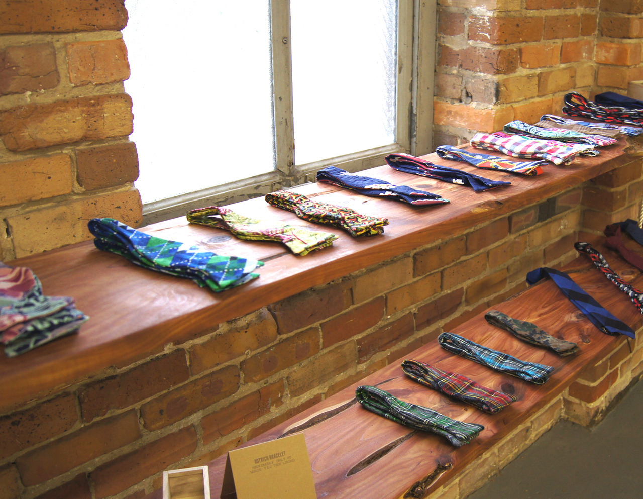 The Tie Display at the Store..Hunter Gatherer Gallery