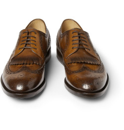 GUCCI FRINGED LEATHER LONGWING BROGUES