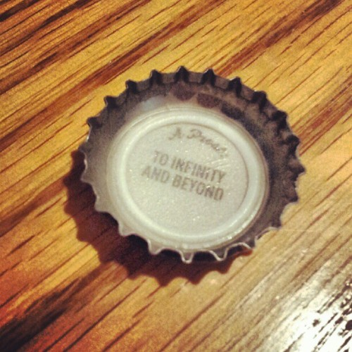 justlikeadropintheocean:  Best bottle cap ever. #toinfinityandbeyond (Taken with Instagram)
