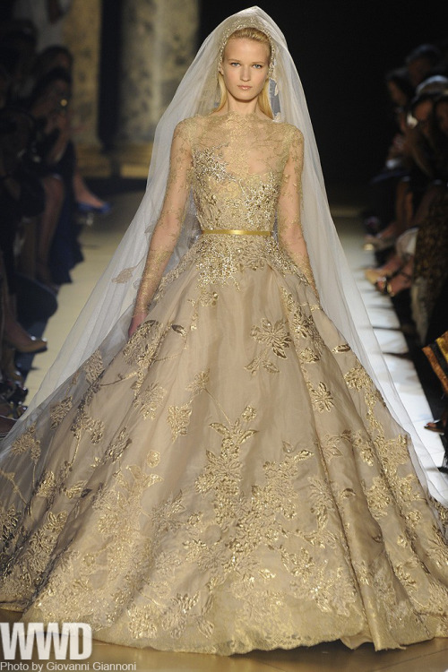 "Elie Saab Fall Couture 2012 Saab cited Turkey as his inspiration, with Ottoman motifs ""infusing the collection with imperial splendor,"" he said. Notwithstanding encrusted embroideries galore, he etched the theme with a light hand: in the dreamy, Bosphorus blues of some dresses; the faded carpet prints adorning others. Gowns, cocktail suits and coats, however, were liberally splashed with gold.  For more"