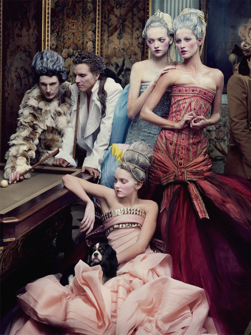 "glamandvanity:  ""French Twists"": Gemma Ward, Gisele Bündchen, and Lily Cole by Annie Leibovitz for Vogue US May 2004   Romance, Fashion, Fashion shoot, autumn/winter 12/13, Gisele, ornate"