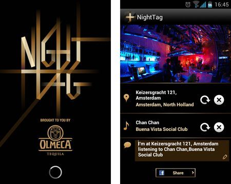 matarua:  NightTag is the world's first social music app, designed to help people capture their nightlife experience in one place. It combines images of the night, with the music that is being listened to, in the place where it is playing – and posts it all onto a user's Facebook Timeline. NightTag allows users to take a photo, while its music-recognition software identifies the song playing and the smartphone's GPS pinpoints the location. NightTag then posts all three elements onto the user's Facebook Timeline in one, cohesive NightTag photo post.